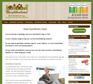 Neighborhood Bookkeeping, LLC, Accounting Website