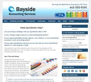 Bayside Accounting Services, Accounting Website