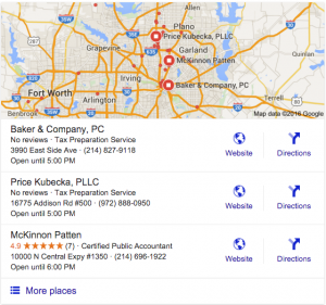 Google Map Screen Shot, The Importance of Reviews for Marketing your Accounting Website