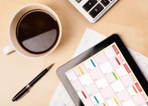 Desktop with Calendar on Tablet, Online Appointment Scheduling for Your Accounting Website