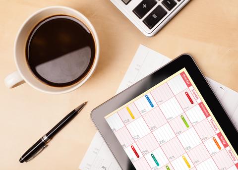 Desktop with Calendar on Tablet