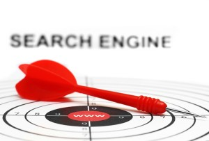 Search engine target with red dart, Boost Search Rankings with External Links