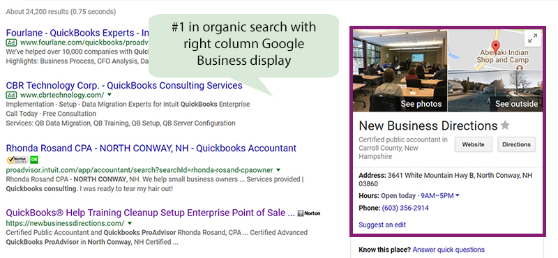 #1 Organic search with right column Google Business Display