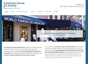 American Canvas And Awnings Website Screenshot
