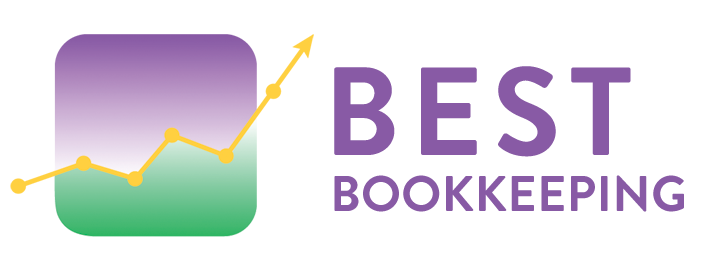 Purple and Green chart Best Bookkeeping Logo Sample