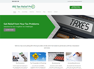 IRS Tax Relief Pros Website Screenshot